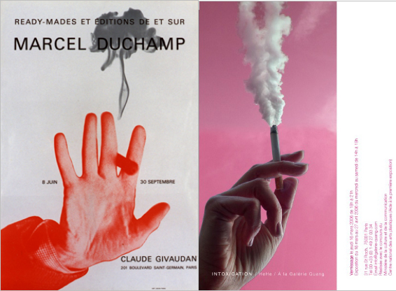 4)Left Exhibition Poster, Marcel Duchamp, 1967; Right Exhibition Invitation  U201cIntoxicationu201d, HeHe, 2006.